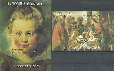 Timbres Religion Noel Arts Tableaux St Thomas et Prince BF90/1 o lot 18450