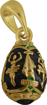 Faberge Egg Pendant / Charm with Ballerina 1.5 cm black #0963