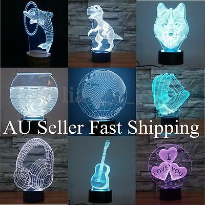 10 Style 3D LED Night Light 7 Color Touch Switch Table Desk Lamp Christmas Gift