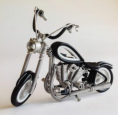 Amazing Motorcycle Chopper Harley Biker Bike Toy Wire Art Collectible Black