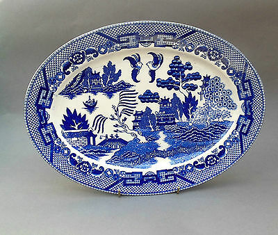 1940's Vintage Willow Pattern OVAL PLATE ~ Made in Occupied Japan R P / Post WW2