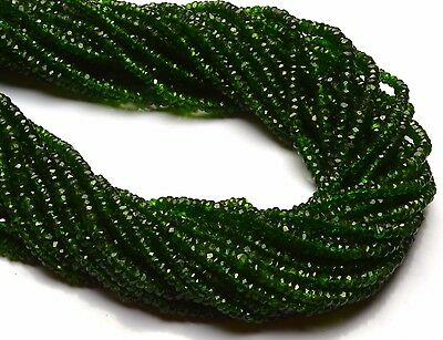 """Super Fine Quality Chrome Diopside Micro Faceted 3.5MM Rondelle Beads Strand 13"""""""