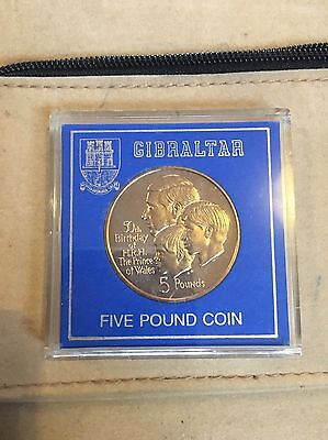 GIBRALTAR 1998 £5 POUNDS, 50th BIRTHDAY OF PRINCE CHARLES, BUNC VIRENIUM CASED