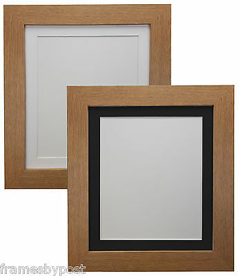 Metro Oak Picture Photo Frames with Black or White Acid Free Mount MDF Wood
