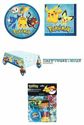 Pokemon Go Party Plates Napkins Tablecover Banner Favour Pack Pikachu