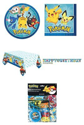 Pokemon Go Party Plates Napkins Tablecover Banner Favour Pack Birthday Pikachu