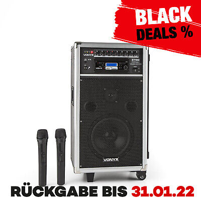 Mobile Pa Anlage Audio System Bluetooth Cd Usb Mp3 Player Trolley Lautsprecher