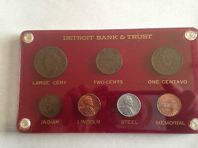 1829-1958 US 6 Coin Type Set in Custom Detroit Bank & Trust Lucite E5363