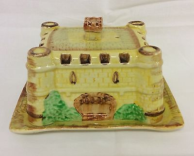 Vintage Old English Castle Cottage Ware Cheese / Butter Dish