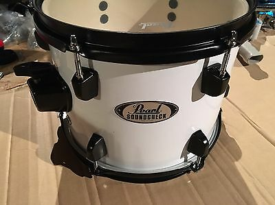 pearl soundcheck 10 x 8  tom drum, white with black