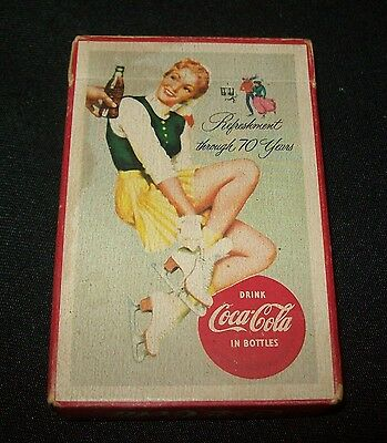 Old '50's Coca Cola Advertising Deck of Cards-Woman Skater Pin Up-Hard to Find!