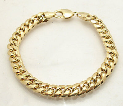 "8.5"" 9.2mm Mens Royal Miami Cuban Bracelet Real 10K Yellow Gold Great Gift Idea"