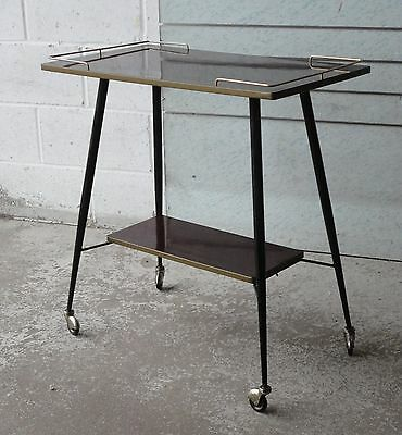 Vintage Retro French Mid Century Rosewood Two Tier Tea Trolley Side Table