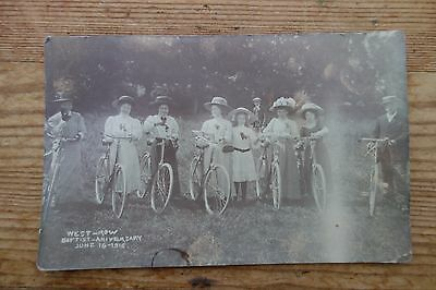 Vintage 1910 West Row Baptist Congregation With Cycles