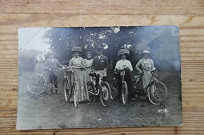 Vintage 1910 Group Of Cycists With Cycles