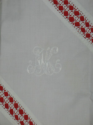 Exquisite European c1900 Antique Lace Pillow Case~Embroidery Monogram Trousseau