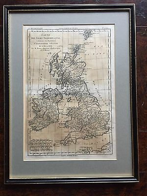 Vintage Framed Map of the British Ilses by Rigobert Bonne