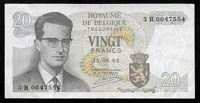 World Paper Money - Belgium 20 Francs 1964 P138 @ VF Cond. ; Ref.# 554