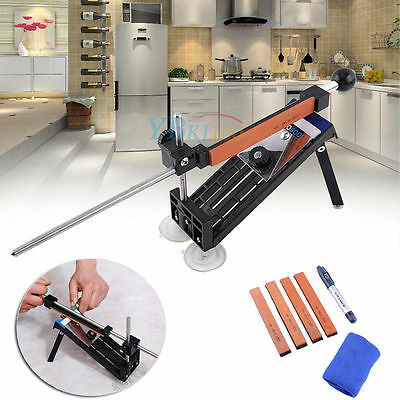 New Pro Kitchen Knife Sharpener Sharpening Tooles System Fix-angle With 4 Stones