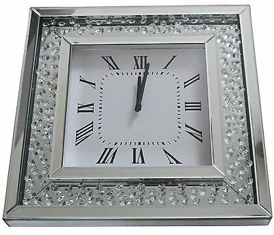 Crystal Mirror Glass Bevelled Square Wall Clock Diamante Style Jewel Gems