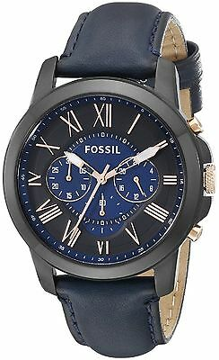 Fossil Men's FS5061 Grant Chronograph Black/Blue Dial Blue Leather Watch