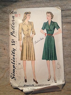 1940's Simplicity Sewing Pattern 4081 Womens Tailored Dress Button Frt Size 16