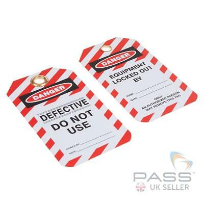 Lockout Tagout Tags - 'Defective Do Not Use' - Pack of 10