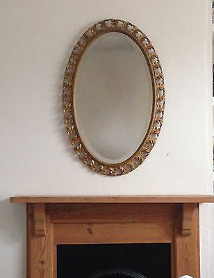 Large Antique Victorian/Edwardian Acanthus Leaves Gold Gilt Oval Gesso Mirror