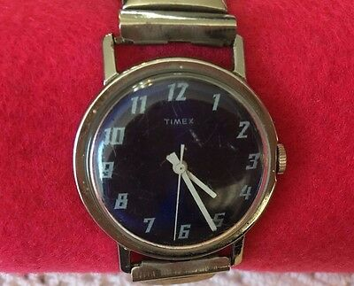 Vintage Timex Watch Blue Dial/Face Unisex Silver with Stretch Band