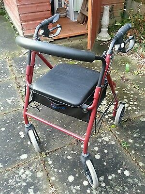 Lightweight Adjustable Four Wheeled Walker / Rollator With Seat