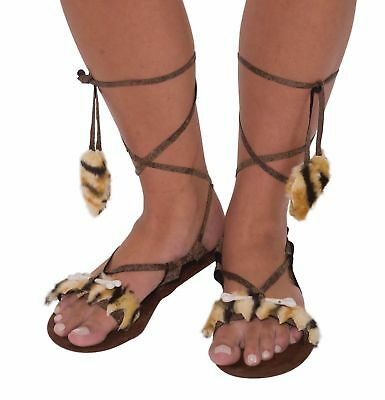 Stone Age Prehistoric Cavewoman Womens Sandals Shoes Adult Costume Accessory