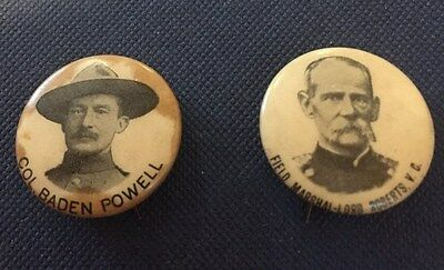 Two Boer War souvenir Tin/Celluloid pin badges. Lord Roberts VC & Baden Powell