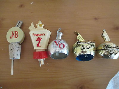 Vintage Lot Of 5 Whiskey Bottle Top Pourers, J&b, Seagrams 7, Vo, Canadian Club