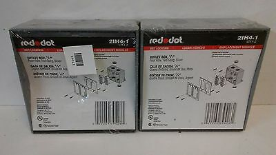 Lot Of (2) New In Plastic! Red Dot Four Hole Two Gang Silver Outlet Boxes 2Ih4-1
