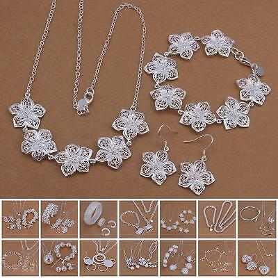 Creative 925 Sterling Silver Plated Weave Net Chain Bracelet Earing Jewelry Set
