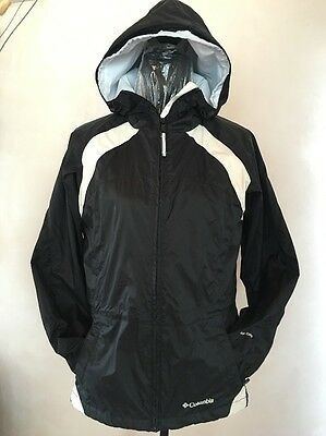 Colombia Storm Dry Shell Jacket Hoodie Men's Small Black & White Hood  Unisex