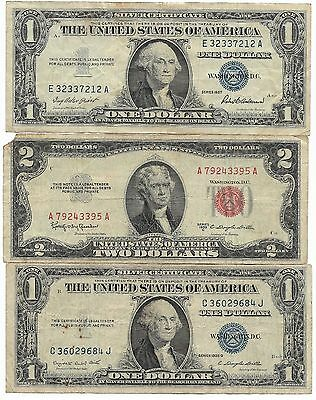 US Blue Silver Certificate Red Seal Two Dollar Bill Collection Paper Money Lot