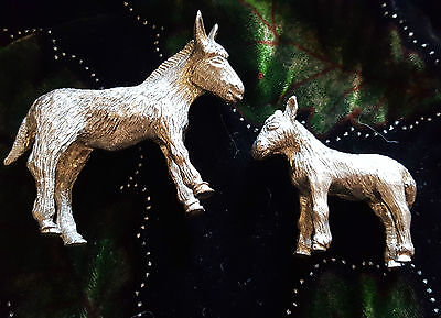 Donkey and foal figurines vintage solid silver coloured metal / pewter