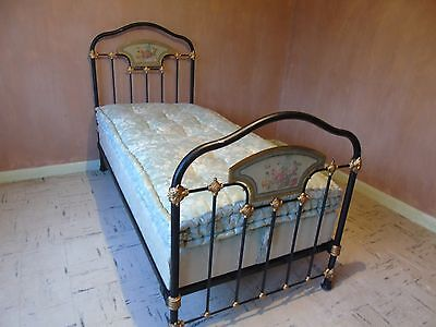 Antique French Cast Iron Single Bed + An Original Box Base And Mattress