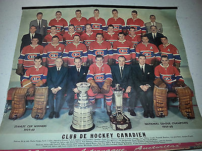 1959-60 Players 8 Photo Calendar  Montreal Canadiens Stanley Cup +Trophies +More