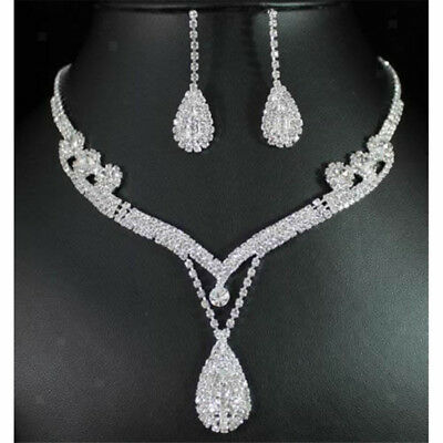 Crystal Rhinestone Tear Drop Earrings Necklace Bridal Jewelry Set Silver