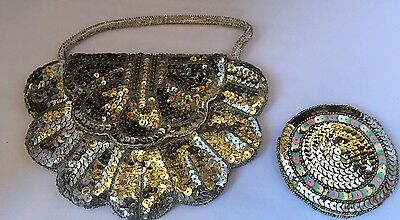 Beautiful 1930s Sequin Bag And Matching Compact/ Mirror Case