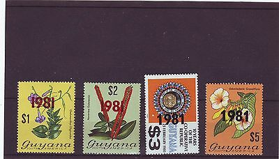 GUYANA - MNH VARIOUS STAMPS $1 - $5 OVPT 1981 4v