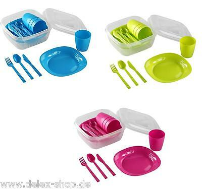 Picnic  crockery Picnic cutlery Camping dishes for 4 persons 22 pieces Robust