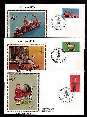 Canada 1979 Christmas # 839/41 Set Of 3 Colorano Silk First Day Covers !!