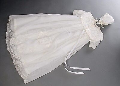 Antique baptism dress in very good condition with cushion, petticoat and bonnet.