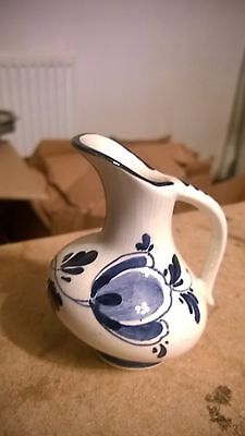 "Miniatures Blue & White Pottery Jug 3"" High Made In Holland"