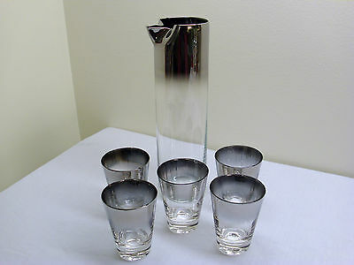 Dorothy Thorpe Ombre Silver Fade Martini Pitcher and 5 Glasses