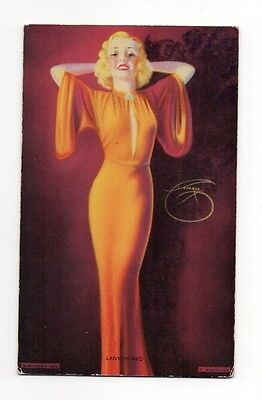 1940 Mutoscope Pin Up Arcade Card Glamour Girls Series #MS138 Lady In Red