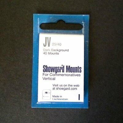 Showgard Stamp Mounts Size JV 25/40 BLACK Background Package of 40